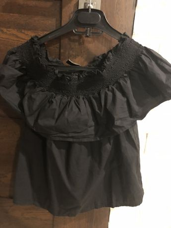 Bluzka czarna hiszpanka xs s strdivarius 34 36