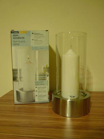 Świecznik szklany z podstawą ze stali nierdzewnej 25 cm Nowy!