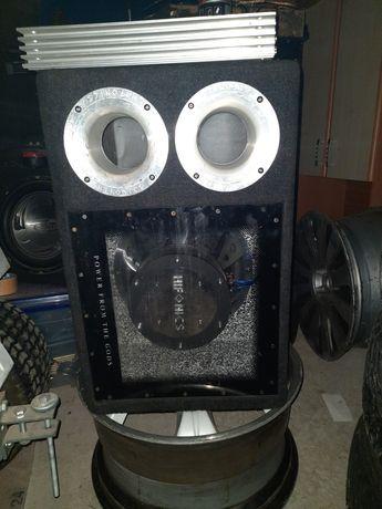 Car audio wzmacniacz radio głośniki  skrzynia basowa tuba