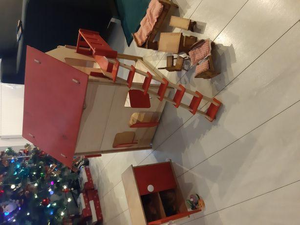 Domek dla lalek drewniany mebelki