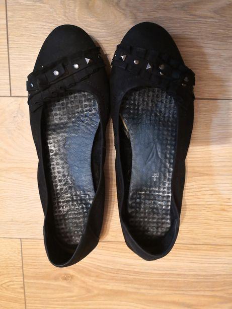 Caprice Baleriny czarne skorzane nubuk 39 buty damskie wiosna skóra