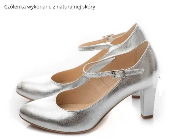 buty ślubne KOTYL taneczne srebrne