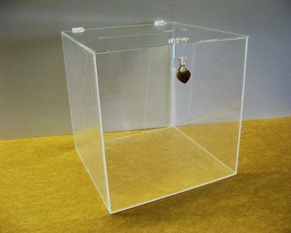 Pudełko na kartki ślubne koperty szkło akrylowe przezroczyste kłódka