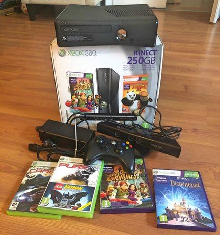 Zestaw Xbox 360 + kinect + pad + gry