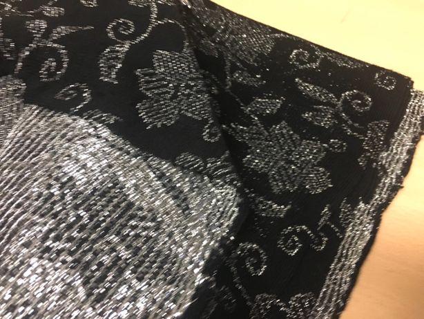 Kupon czarno srebrna dzianina na sukienki 3,35mx1,7m