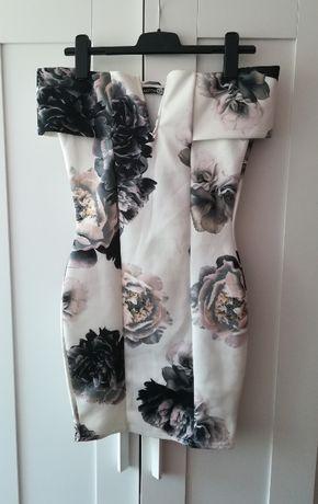 Wizytowa elegancka hiszpanka piankowa sukienka BooHoo kwiaty S M