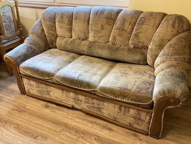 Rozkładana sofa z pojemnikiem na pościel lite drewno