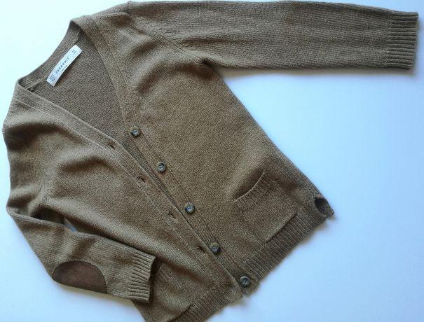 Brązowy sweterek z Zary z dodatkiem angory - rozmiar S