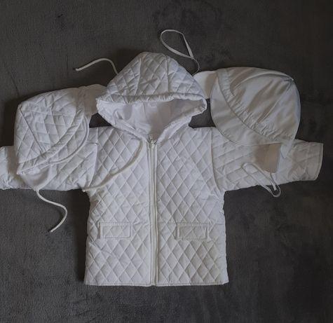 Biała kurteczka+ czapeczki+ buciki chrzest