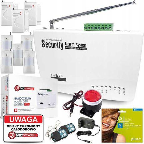 Alarm Bezprzewodowy GSM SMS 8 CZUJNIKÓW + SYRENA