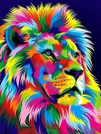 Картина ручной работы ,,Радужный лев,,