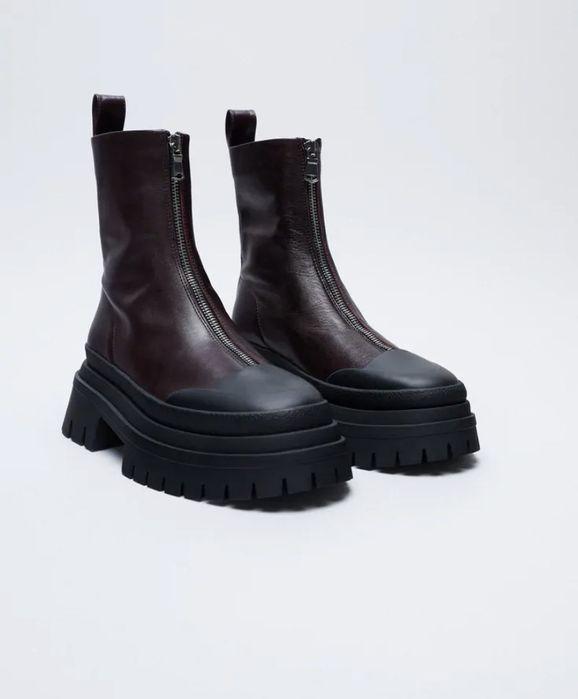 Кожаные ботинки на высокой подошве zara Черкассы - изображение 1