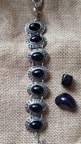 Браслет черный агат натуральный камень + серьги агат в подарок