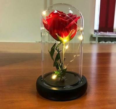 Роза большая в колбе с LED подсветкой