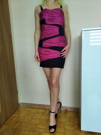 SZAŁOWA sukienka mini czarna z różem ramiączka M L GRATIS WYSYŁKA