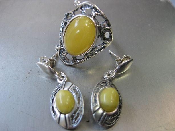Stare srebro kolczyki pierścionek miodowy