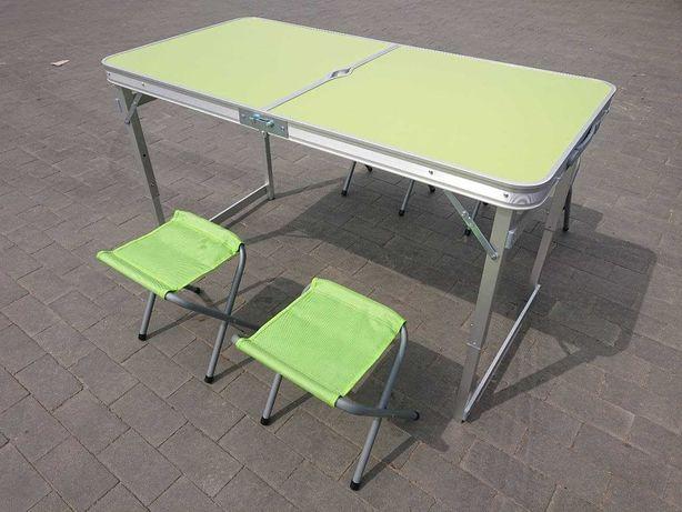 Усиленный раскладной стол чемодан для пикника + 4 стула 120см