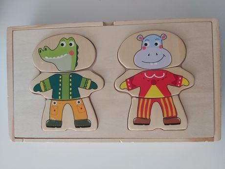 Drewniana układanka Play Tive zwierzątka ubieranki