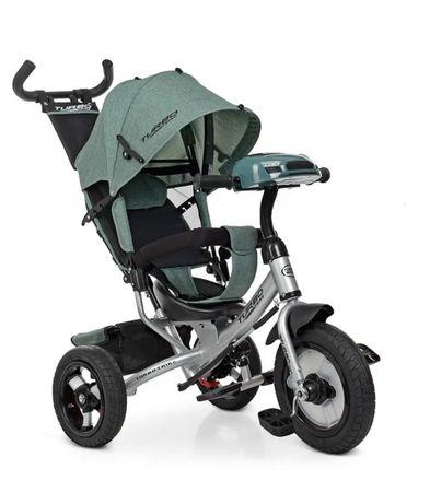 Велосипед  трёхколёсный детский, регулировка сиденья, USB, Фара, зелен