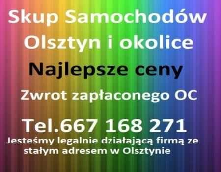 Skup aut-każdy samochód Olsztyn-Najlepsze ceny-Zwrot zapłaconego OC