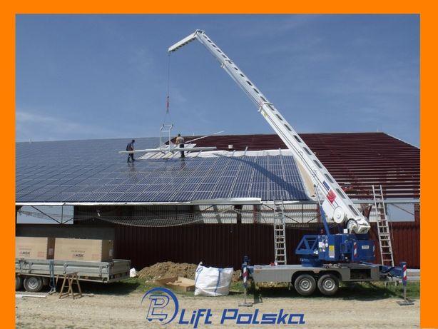 Fotowoltaika wynajem dźwigu transport paneli usługi od LIFT POLSKA