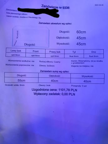 Akwarium 60x45x45 morskie, sump opti erybka