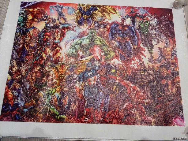 Obraz 15x20 na płótnie bez ramy Marvel Superman Iron man SpiderMan