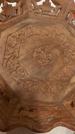 2 Tace drewniane egzotyczne rzeźbione ażurowe cena za 2 ,rękodzieło