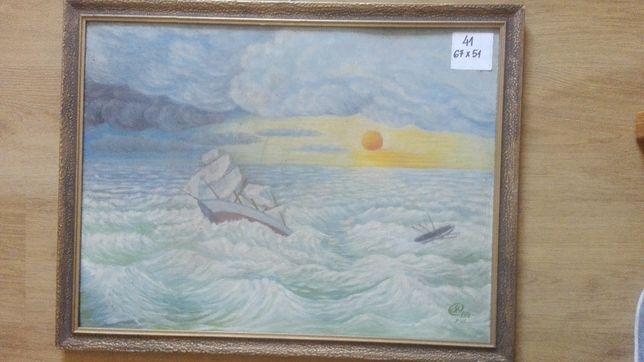 Obraz Morze olej na dykcie stara rama sygnowany