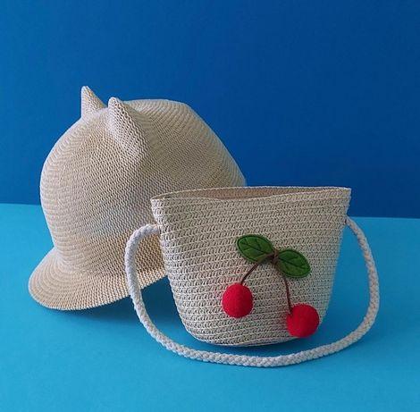 Капелюшок капелюх кепка сумочка сумка соломяний плетена