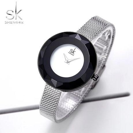 Zegarek damski srebrny czarny kryształ Z008 !