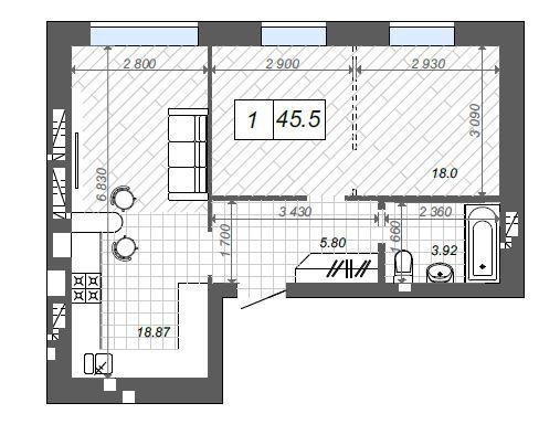 1-но комнатная квартира с возможностью сделать двушку, центр