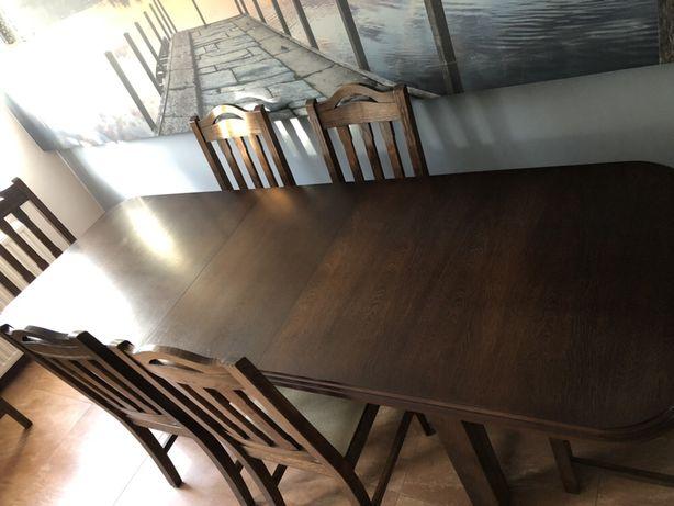 Stół dębowy + 6 krzeseł - zestaw do jadalni /salonu