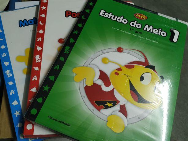 Manuais escolares Alfa 1 ano (Matemática, Estudo do Meio e Português)