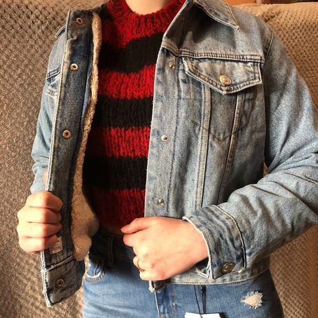 МЕХ! ТЕПЛАЯ! Удобная! Меховая джинсовка Zara