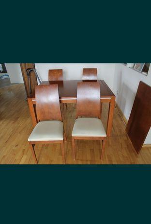 STÓŁ z Krzesłami 4 szt drewno naturalne , skóra naturalna