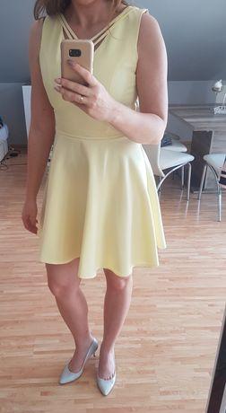 Sukienka rozkloszowana cytrynowa