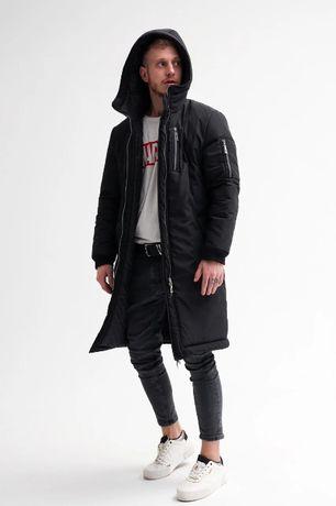 Парка мужская ЗИМНЯЯ черная до -30*С / пальто куртка пуховик чоловіча