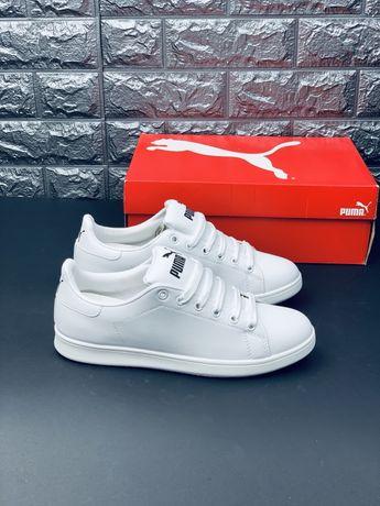 Кожаные белые кеды кроссовки Puma Cali Bold Roma ks-x Suede Bow Fenty