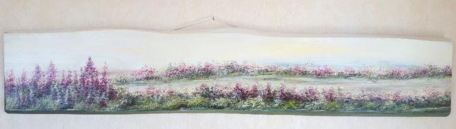 Obraz Pejzaż Łąka malowany na drewnie 130 cm Dzień Matki Ślub Prezent