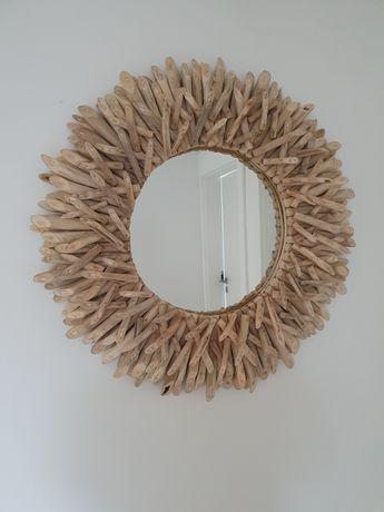 Piękne skandynawskie boho lustro, drewno, średnica ok 80 cm