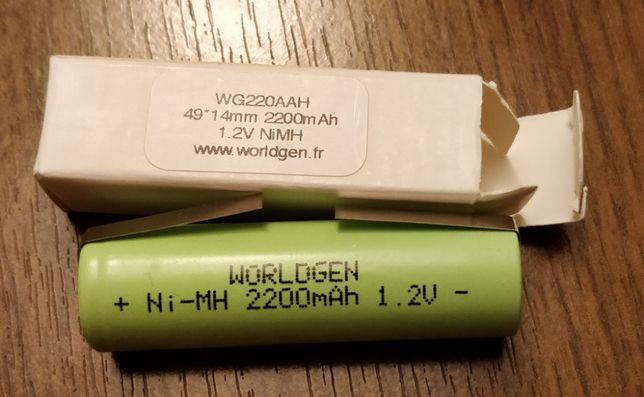 NOWA Bateria firmy WorldGen 2200 mAh, 1.2V o rozmiarze 49x14 mm