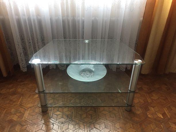 Renoma design stolik szklany tv RTV srebrny półka elegancki jak nowy