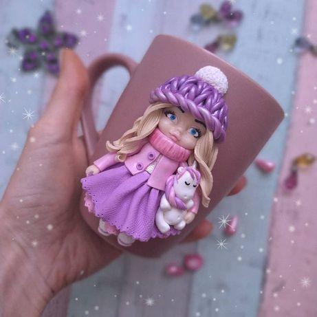 Чашка девочке из полимерной глины