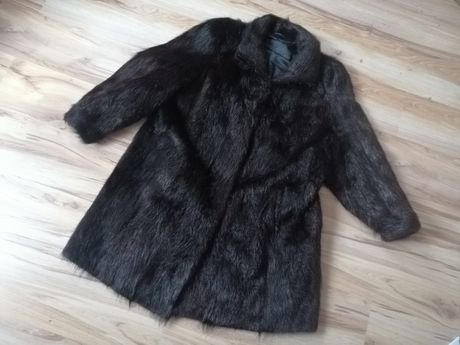 Futro płaszcz czarne naturalne xl xxl L retro PRL vintage