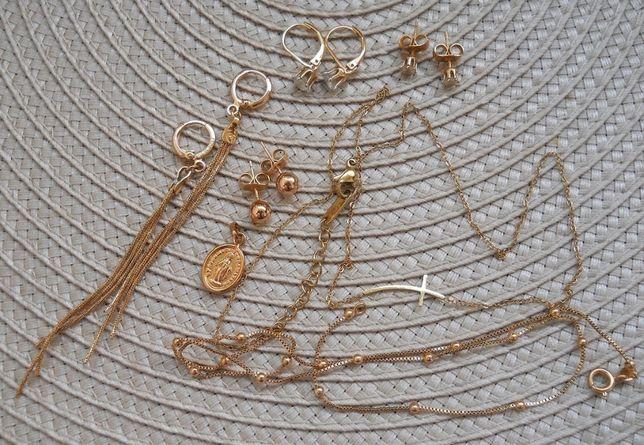 Piękny Zestaw Biżuterii Złotej Stal Chirurgiczna Celebrytka