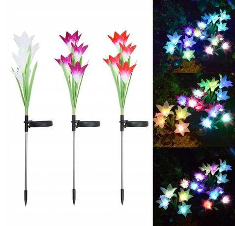 Lampki solarne led lilia ozdoba ogrodowa