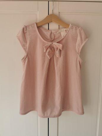 Bluzka t-shirt dziewczynka H&M 128 pudrowy róż welur