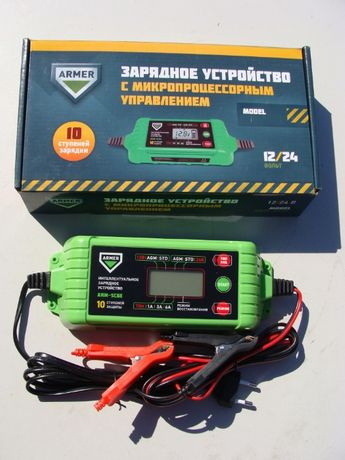 Зарядное устройство 6А, 12/24V микропроцессор, 10-ступеней зарядки