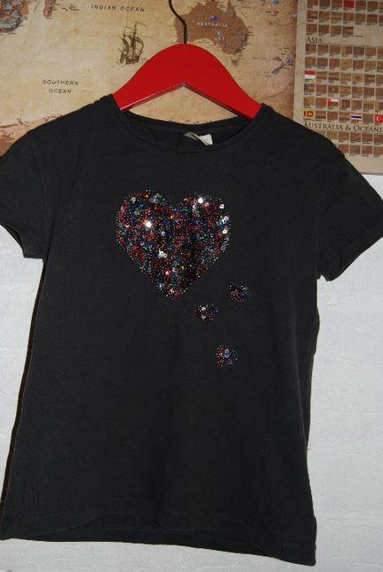 T-shirt krótki rękaw koszulka ZARA grafitowa 122 lat 7 cekiny serca